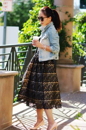 lace dress - denim vintage jacket - christian dior pumps