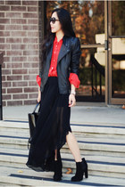 leather Zara jacket - Zara skirt - silk Jcrew blouse
