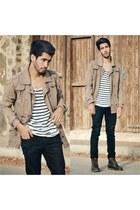 H&M coat - Zara jeans - white marinwears t-shirt