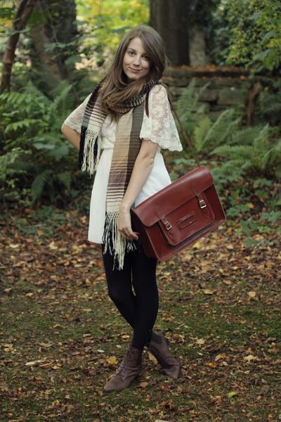 white vintage dress - brown vintage boots