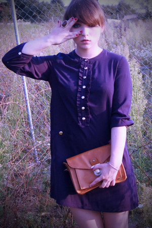 navy buttoned H&M blouse - dark brown golden H&M ring
