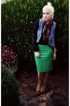 green Savoir-Faire skirt - tan asos boots - black Target shirt