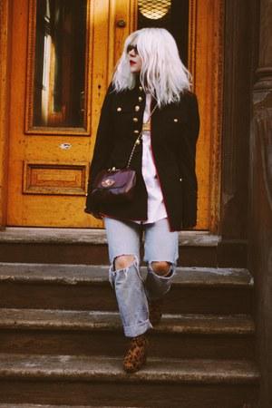 white JCrew shirt - magenta Mulberry bag