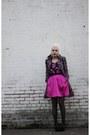 Hot-pink-erin-erin-fetherston-dress-purple-free-people-coat-black-ysl-wedges