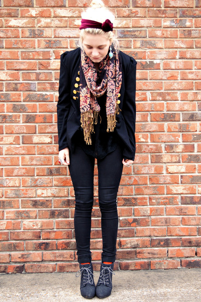 black thrifted blazer - gray asos boots - black Bullhead jeans - coral H&M scarf