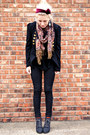 Gray-asos-boots-black-bullhead-jeans-black-thrifted-blazer-coral-h-m-scarf