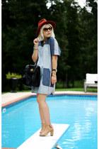 tan crown vintage boots - light blue Rebecca Taylor dress