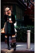 black acne boots - dark green Topshop dress - black PERSUNMALL coat