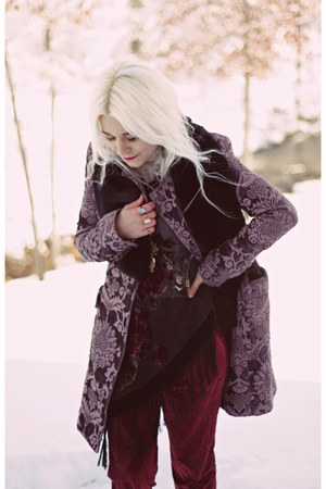amethyst free people coat - black Target boots - ruby red free people pants