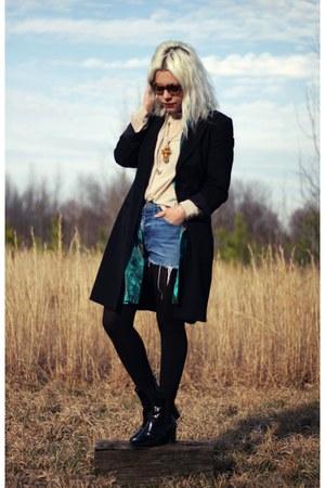 black acne boots - beige Forever 21 shirt - bronze Prada sunglasses