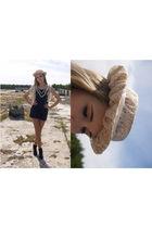 blue second hand dress - beige selfmade hat - black DinSko shoes