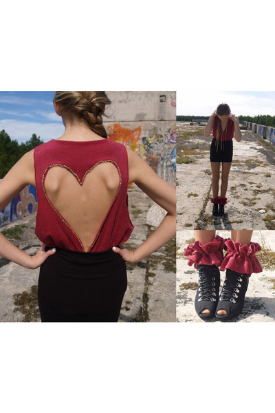 pink selfmade blouse - pink selfmade accessories - black H&M skirt - DinSko shoe