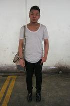 beige Zara t-shirt - black Topman jeans - black Hush Puppies boots - beige seed
