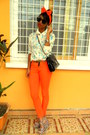 Sky-blue-floral-shirt-orange-skinny-pants