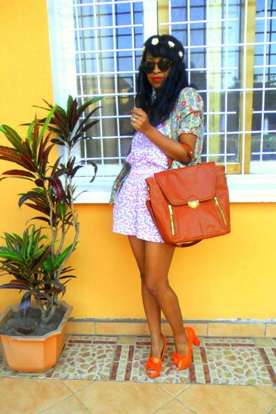 orange shoes - olive green shirt - tawny vintage bag - H&M sunglasses