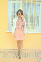 white Printemps jacket - neutral jupe culotte shorts - peach blouse