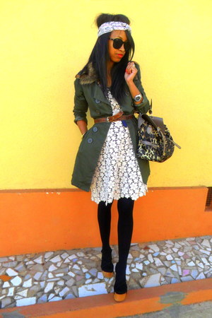 trench coat - Lacey dress - leopard bag - Turban accessories - clogs