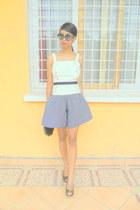 black marina shoes - navy polka dots jupe culotte shorts - white top