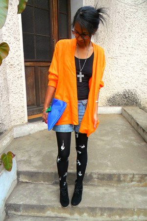 black miu miu DIY tights - black Lily Shoes boots - orange Flino sweater
