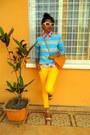 Yellow-skinny-jeans-aquamarine-striped-sweater-red-cherry-print-shirt