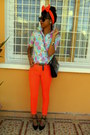Carrot-orange-skinny-jeans-aquamarine-floral-shirt
