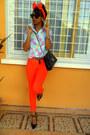 Carrot-orange-skinny-jeans-aquamarine-floral-shirt