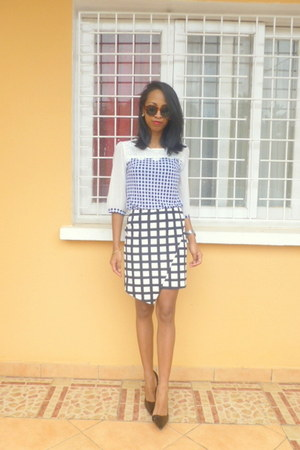 navy skirt - Zara heels