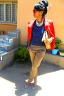 Red-max-mara-jacket-ruby-red-cat-eye-sunglasses-blue-lacey-top-denim-heels