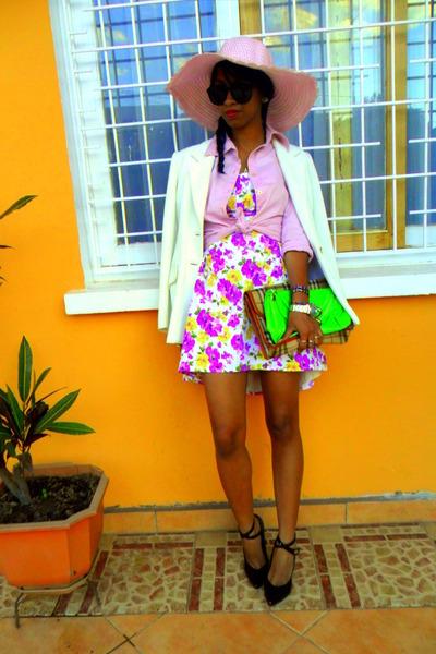 Burberry like bag - chartreuse neon bag - magenta floral print dress
