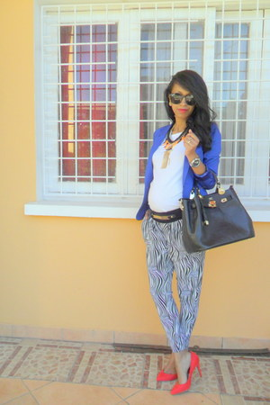 blue mim blazer - black Hermes bag - red pull&bear pumps - zebra print pants