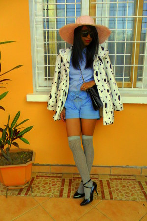 Dalmatian print coat - light pink hat - sky blue shirt - turquoise blue shorts