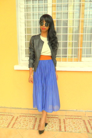 blue skirt - black Berskha leather jacket - H&M Round sunglasses