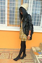 yellow floral dress - black Bershka leather jacket - black Fringe bag