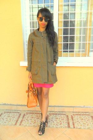 army green coat - black lace up shoes - carrot orange bag - hot pink skirt