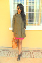hot pink skirt - black lace up shoes - army green coat - carrot orange bag