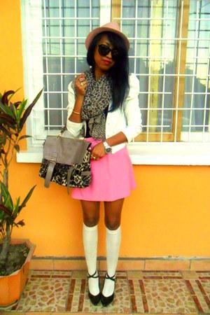 bubble gum skirt - light pink hat - leopard scarf - light brown leopard bag