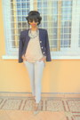 Off-white-mary-jane-shoes-navy-blazer-periwinkle-jogging-pants