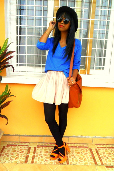 Blue sweatshirt - black H&M hat - tawny bag - H&M sunglasses - orange sandals