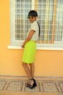 Chartreuse-skirt-black-platform-wedges