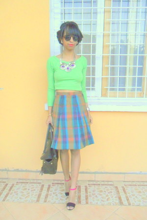 tartan skirt - chartreuse Crop top