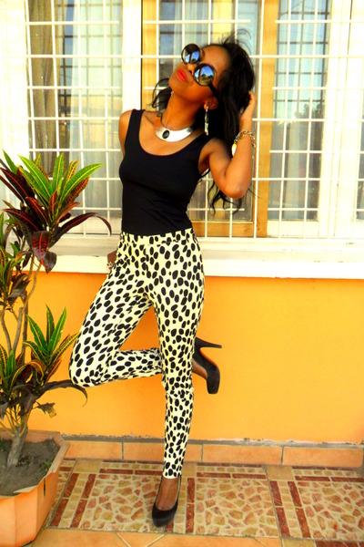 H&M dalmatian print pants - I am necklace - Claires earrings