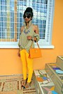 Yellow-skinny-jeans-diy-shoulders-out-shirt-cap-toe-heels