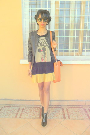 black Bershka jacket - black Raxmax boots - orange bag - H&M sunglasses