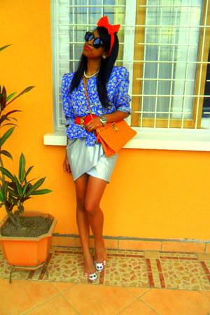 orange Kitty cat flats - blue floral print jacket - orange purse - Rolex watch