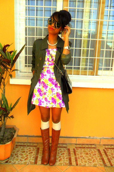 magenta floral dress - tawny boots - army green coat - Rolex watch