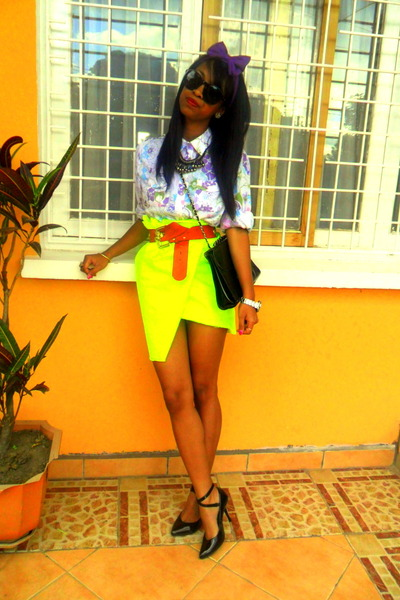 yellow neon skirt - amethyst floral print shirt