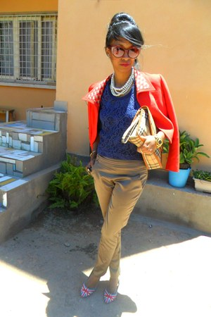 denim heels - red Max Mara jacket - ruby red cat eye sunglasses - blue Lacey top