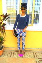 blue floral jeans - H&M sunglasses