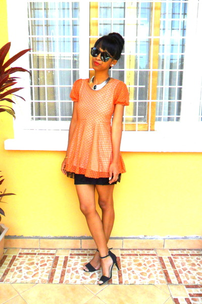 orange crochet dress - black Pencil skirt - mim necklace