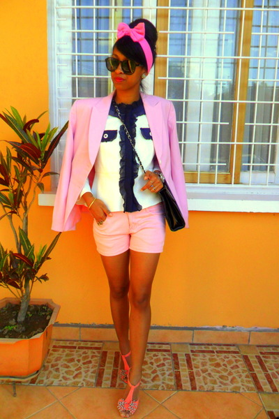 light pink blazer - white Chanel like blazer - shorts
